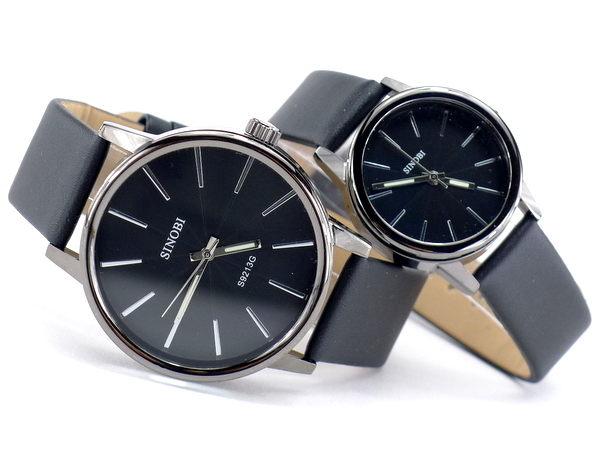 ~好時光~SINOBI 黑色 咖啡色 簡約放射狀刻度 立體鏤空鏡面 潮流 情人對錶 ~