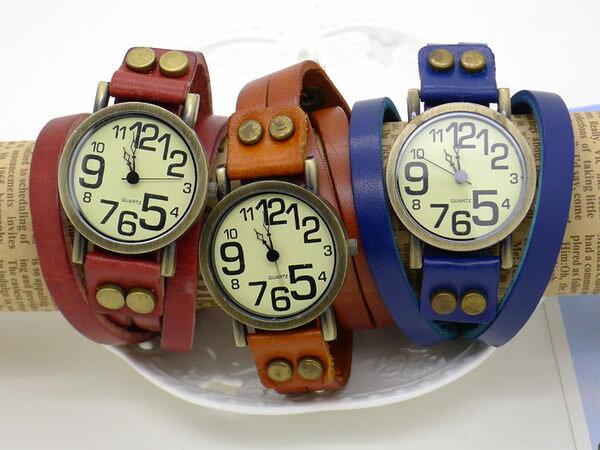 ~好時光~復古趣味大小數字 真皮纏繞錶帶  皮革錶  錶  女錶~ 鉚釘扣 ~  好康折扣