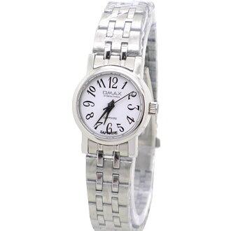 《好時光》OMAX 歐瑪士 阿拉伯數字藝術風格-藍寶石水晶鏡面(女錶)-白面