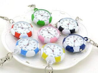 《好時光》繽紛馬卡龍色 足球造型 精品 時鐘 鑰匙圈小掛錶