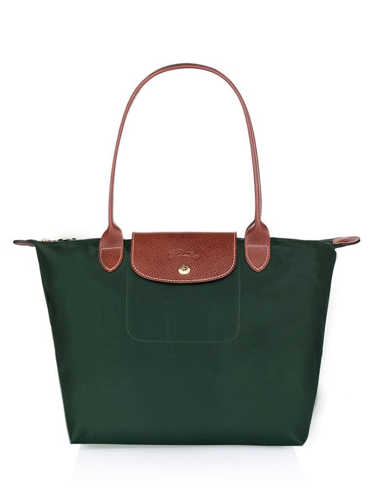 [2605-S號]國外Outlet代購正品 法國巴黎 Longchamp  長柄 購物袋防水尼龍手提肩背水餃包 墨綠色 0