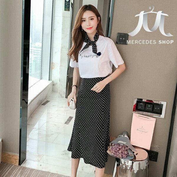 《全店75折》韓國休閒字母寬鬆短袖T恤+波點裙兩件套(S-XL)-梅西蒂絲(現貨+預購)