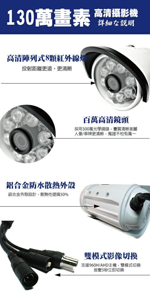台南監視器/百萬畫素1080P主機 AHD/到府安裝/8ch監視器/130萬攝影機960P*6支 台灣製造(標準安裝)