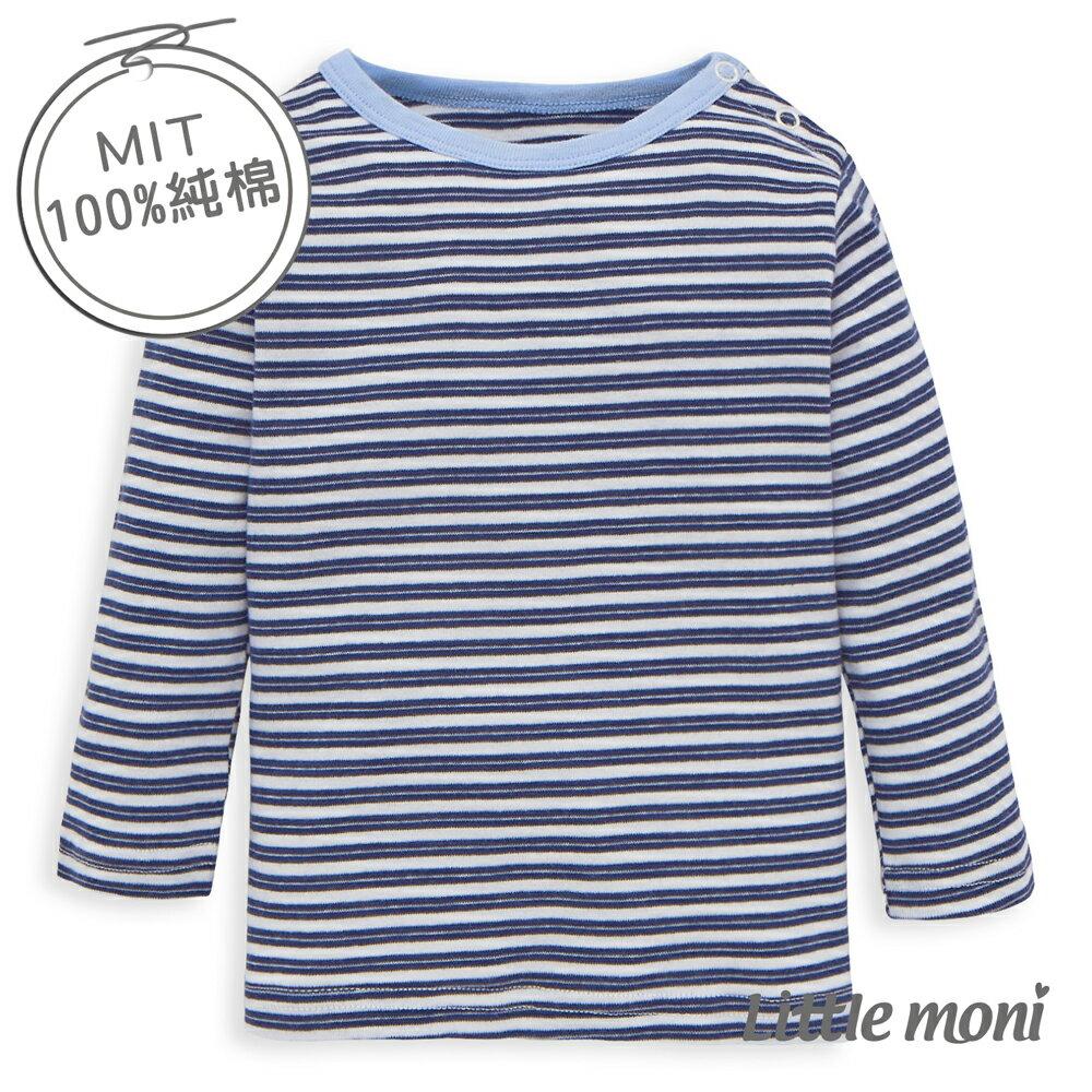 Little moni 純棉家居系列條紋幼兒長袖上衣-深藍
