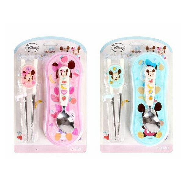 【韓國LiLFANT】迪士尼MICKEY 兒童304不鏽鋼學習餐具組(米奇/米妮)~含學習筷、湯匙、攜帶盒‧韓國製