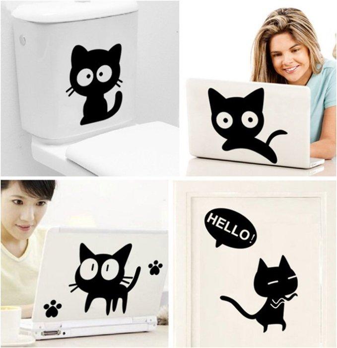 【壁貼王國】 卡通系列 無痕壁貼 《小黑貓 - AY6055》