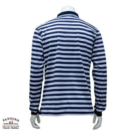 【FANTINO】男裝 65支雙絲光棉polo衫(藍橫條) 641103 1