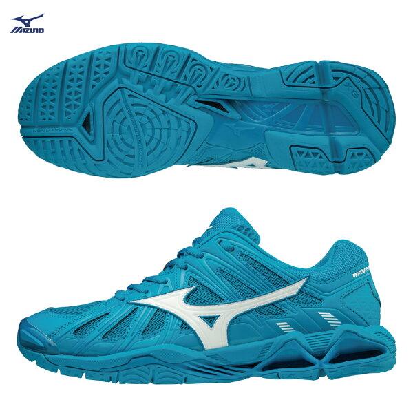 V1GA181298(湖水藍X白)WAVETORNADOX2排球鞋【美津濃MIZUNO】