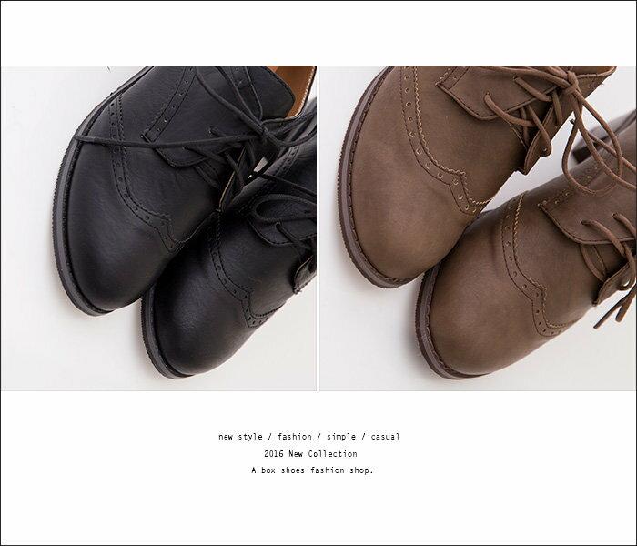 ★399免運★格子舖*【KTD681】學院風復古洗色皮革 英倫牛津雕花 綁帶6.5CM粗高跟踝靴 牛津鞋 2色 2