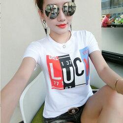 【ORNA 爾瑞菈】預購 夏季新款修身顯瘦短袖上衣 韓版字母印花短袖T恤