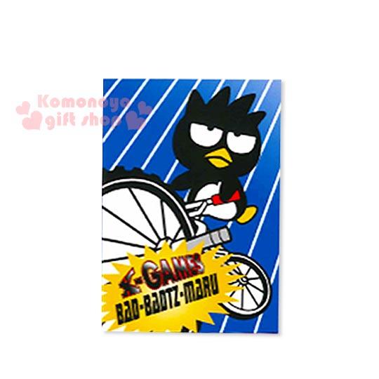 〔小禮堂〕酷企鵝 迷你筆記本《藍白斜紋.腳踏車》橫條紋內頁