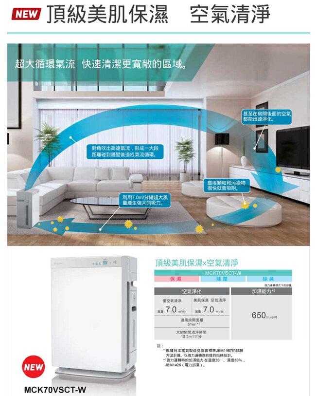 大金 清淨機 雙重閃流 保溼 DAIKIN大金 15.5坪 保濕雙重閃流空氣清淨機 MCK70VSCT-W