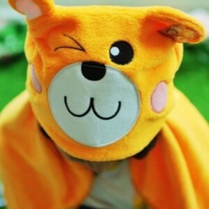 美麗大街【S105120812】狗熊造型連帽毯保暖毯汽車毯冷氣毯