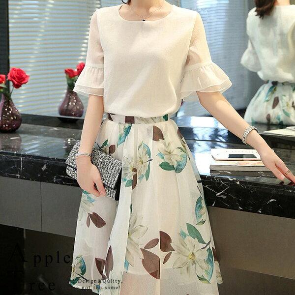 AT日韓-雪紡上衣X歐根紗印花長裙,兩件成套【803086】