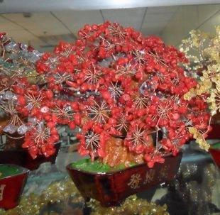 水晶發財樹擺件、紅色水晶聖誕樹、聖誕節禮品