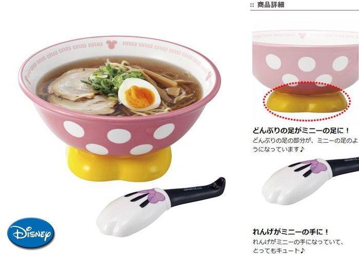 【真愛日本】14120400020  拉麵碗組附湯匙-米妮  迪士尼 米老鼠米奇 米妮 拉麵碗 碗 餐具 生活用品