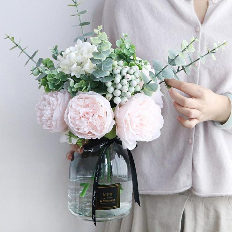 仿真花 假花 仿真牡丹花玫瑰花束婚慶家居客廳落地花瓶裝飾假花絹花插花擺件