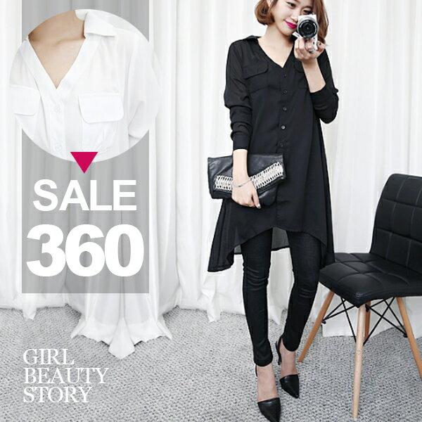 SISI【L8038】慵懶透視美感翻領中長款寬鬆百搭長袖前短後長雪紡襯衫上衣