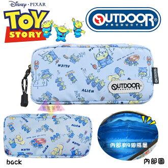 叉叉日貨 迪士尼OUTDOOR聯名玩具總動員三眼怪藍底滿版筆袋 日本正版【Di99581】