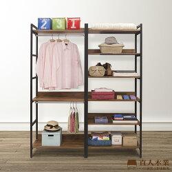 【日本直人木業】STEEL積層木工業風一個雙掛加五層隔板160CM多功能衣櫃