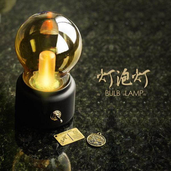 =優生活=復古風充電燈泡小夜燈 創意懷舊USB床頭台燈氛圍燈 工業風燈泡夜燈 燈泡燈 創意禮品