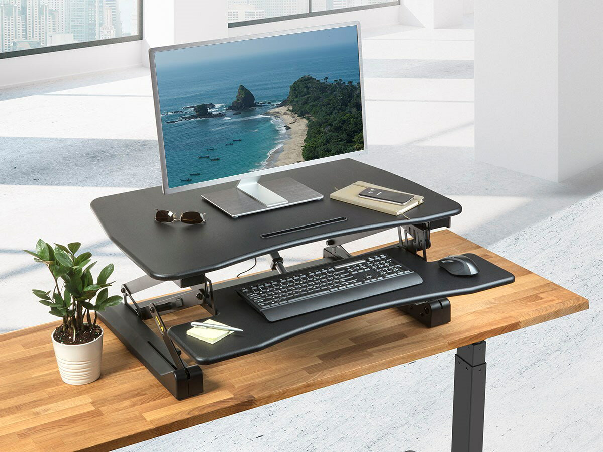"MonopriceElectric Motorized Height Adjustable Sit-Stand Desk Converter 36"" Table Top 5"