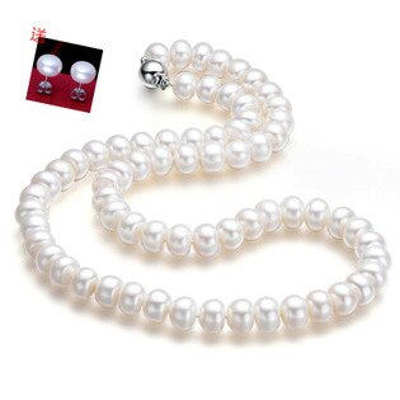 美琪首選(母親節禮物)天然9mm珍珠項鏈簡約圓型接口時尚飾品