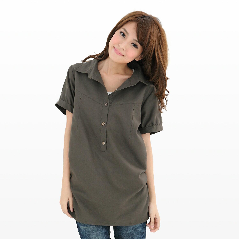 長版襯衫--初春顯瘦印象感素面長版縮腰襯衫(白.黑.綠M-3L)-H90眼圈熊中大尺碼 1