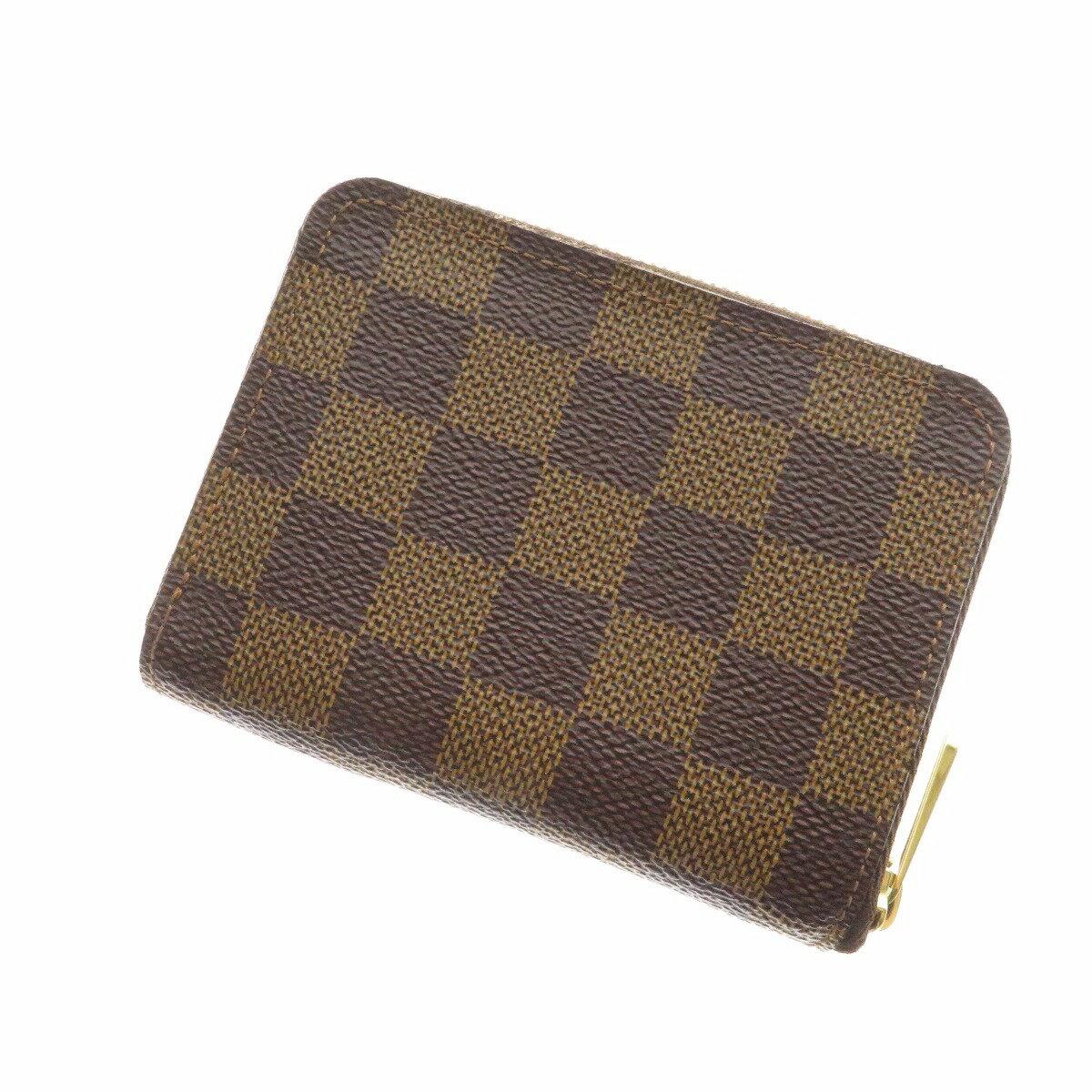 【奢華時尚】LV N63070 棋盤格拉鍊2層零錢多卡片包(八五成新)#19624