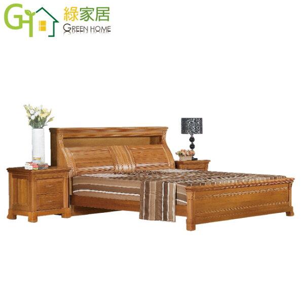 【綠家居】雅多可柚木紋6尺實木雙人加大床台(不含床墊&床頭櫃)