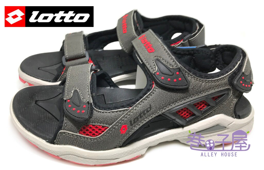 【巷子屋】義大利第一品牌-LOTTO樂得 男款輕量避震運動涼鞋 [2308] 灰紅 超值價$398