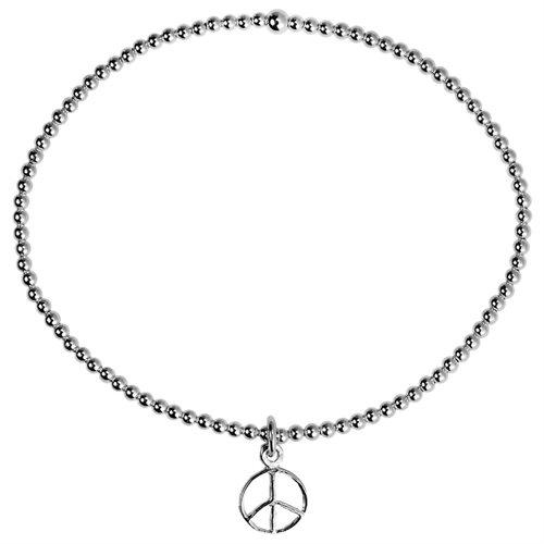 Elastic Bead Link Peace Sign Sterling Silver Bangle Bracelet 1