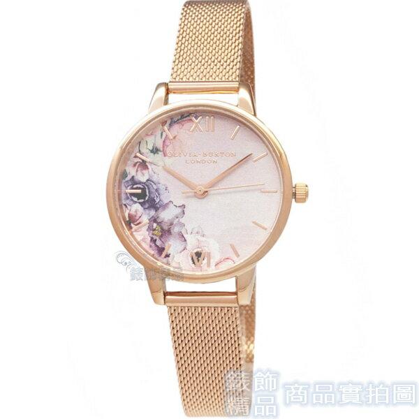 OLIVIA BURTON OB16PP39 花香水彩 粉面玫瑰金色金屬網狀錶帶 女錶 30mm【錶飾精品】