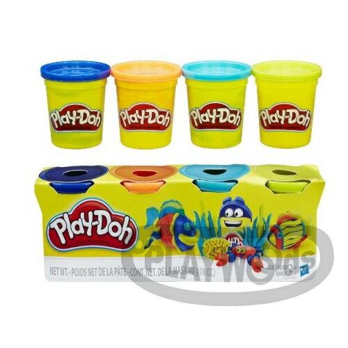 【Playwoods】[培樂多黏土PLAYDOH]超值組合:四色組經典款 海底世界組(內含4罐黏土/安全無毒/DIY/孩之寶Hasbro)