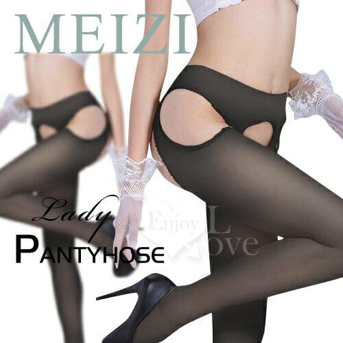 愛慕情絲!超薄包芯絲免脫四面開檔連褲絲襪~黑~ 性感絲襪 情趣用品