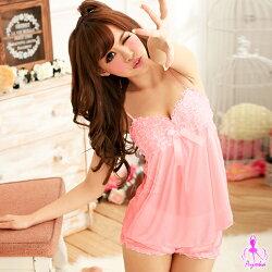 甜蜜芭比!粉紅二件式睡襯衣 情趣睡衣 甜美睡衣 情趣用品