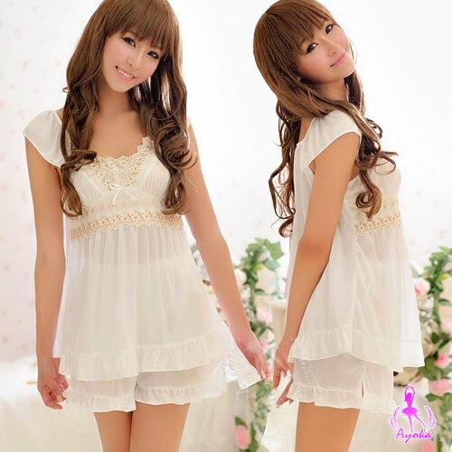 純淨天使!小蓋袖二件式睡襯衣情趣睡衣甜美睡衣情趣用品