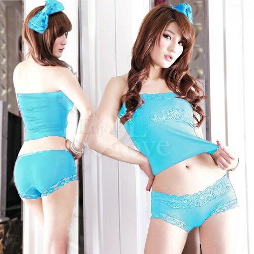 迷漾甜心!莫代爾爆款蕾絲燙鑽愛戀內褲﹝水藍﹞ 性感內褲 情趣內褲 情趣用品