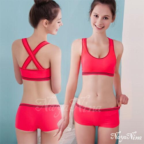 玩色!撞色彩條無縫低腰平口褲S-XL(桃粉) 運動型內褲 情趣用品