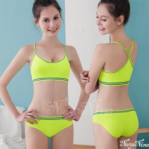 玩色!撞色彩條無縫低腰內褲S-XL(螢光綠) 運動型內褲 情趣用品