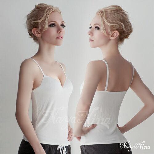 【Naya Nina】Bra Top細肩帶無鋼圈罩杯內搭背心(白色) 運動型內衣 情趣用品
