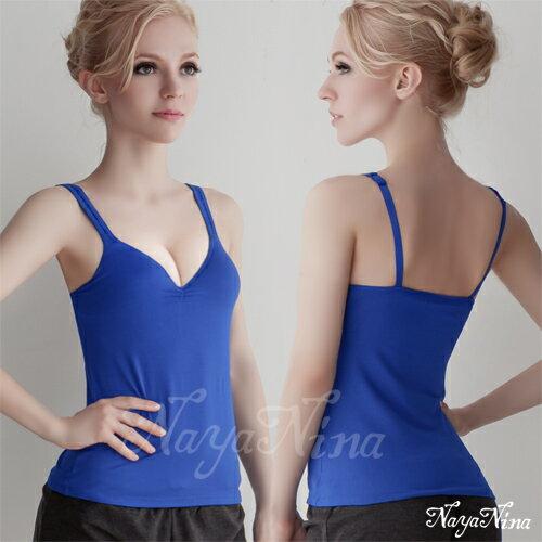 【Naya Nina】Bra Top寬肩帶無鋼圈罩杯內搭背心(藏藍) 運動型內衣 情趣用品