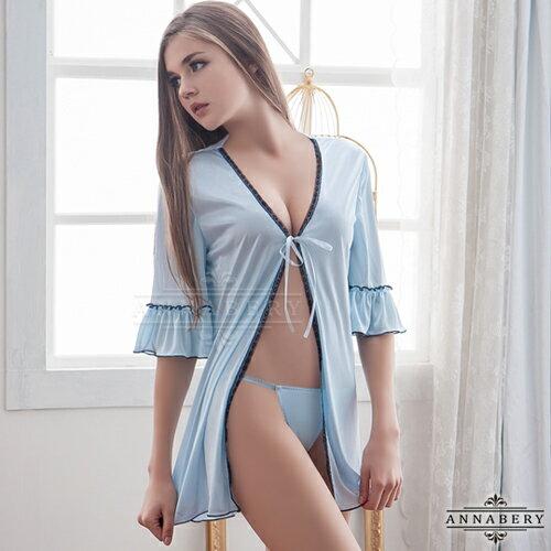 大尺碼Annabery淺藍柔緞二件式二件式罩衫丁褲組 性感睡衣 情趣睡衣 情趣用品