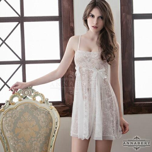 大尺碼Annabery純白透視雙層蕾絲二件式性感睡衣 情趣用品