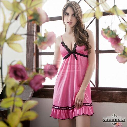 大尺碼Annabery亮麗粉紅動人柔緞睡衣 性感睡衣 情趣睡衣 情趣用品