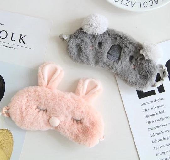 韓國超級可愛粉紅兔子 無尾熊眼罩 遮光眼罩 幫助睡眠 毛毛兔 睡覺眼罩
