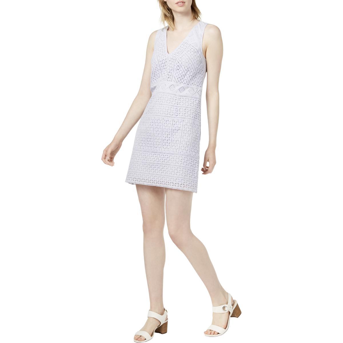 ed2416b5cc BHFO  French Connection Womens V-Neck Lace Mini Dress