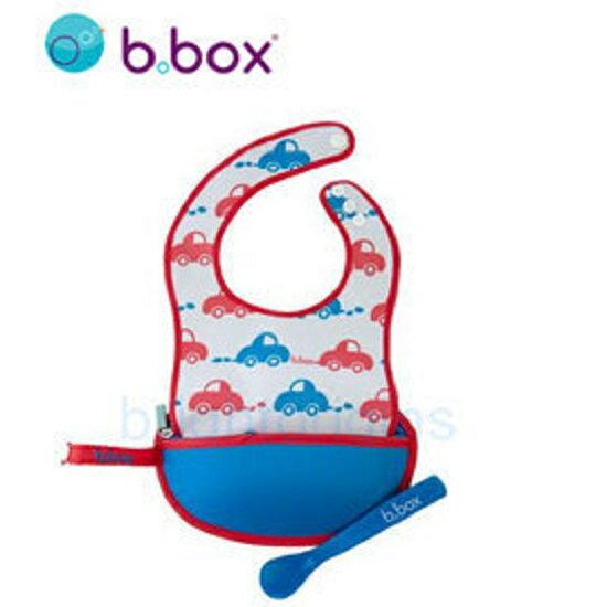【淘氣寶寶】『BBOX06-2』澳洲b.box旅行圍兜袋(含矽膠軟湯匙)-嗶嗶車【內含1支食品級矽膠軟湯匙】