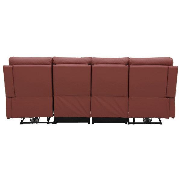 ◎(OUTLET)半皮4人用電動可躺式沙發 MEGA RED 福利品 NITORI宜得利家居 3