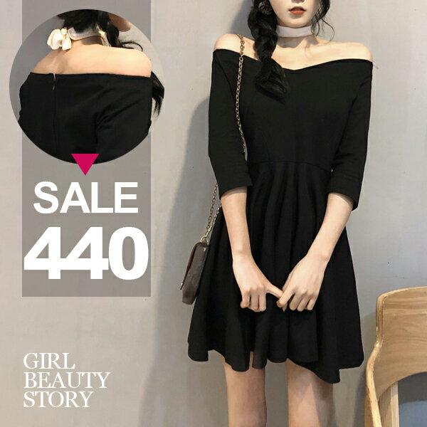 SISI【D8060】Chic風露肩一字V領中袖修身顯瘦傘狀裙襬連身短裙洋裝